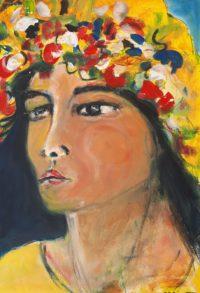 Visage fleuri / Acrylique / 50 x 70
