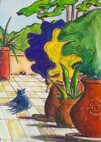Verdure de terrasse / mines de couleurs et encre / 50 x 70