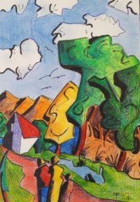 Sur le chemin montagnard / Mines de couleurs et encre / 50 x 70