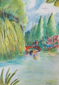 Le pont / Mines de couleurs / 50 x 70