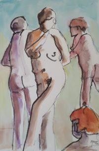 La pause 4 / Encre et aquarelle / 50 x 70