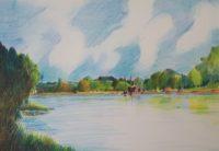 Rives fluviales / Aquarelle / 70 x 50