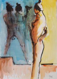 La pause 2 / Encre et aquarelle / 50 x 70