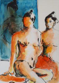 La pause 1 / Encre et aquarelle / 50 x 70