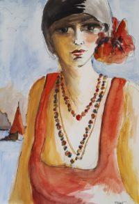 Robe orange à la mer / Aquarelle et encre / 50 x 70