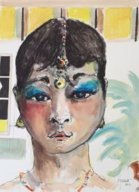 Visage / Aquarelle et encre / 50 x 70