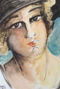 Portrait féminin / Aquarelle et encre / 50 x 70