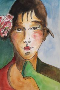 Portrait à l'écharpe verte / Aquarelle et encre / 50 x 70