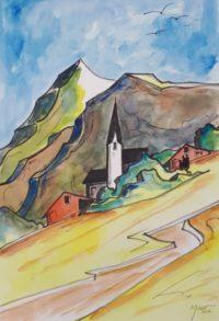 Bourg de montagne / Aquarelle et encre / 50 x 70
