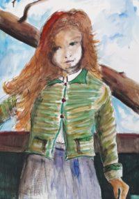 Jeune rousse / Aquarelle et encre / 50 x 70