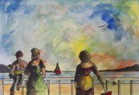 Moment estival / Aquarelle et encre / 70 x 50