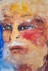 La barbe / Acrylique et collage / 50 x 70