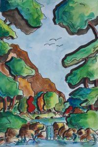 La cascade / Aquarelle et encre / 50 x 70