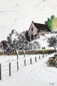 La maison haute / Encre et aquarelle / 50 x 70
