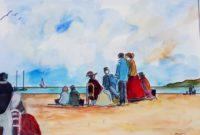Réunion sur plage / Aquarelle et encre / 70 x 50