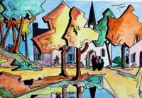 L'église / Aquarelle et encre / 70 x 50