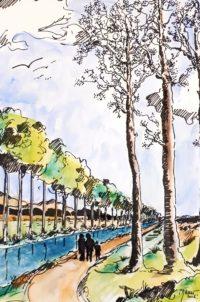 Bord du canal / Aquarelle et encre / 50 x 70