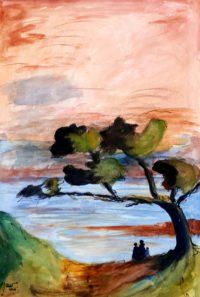Sous les pins / Aquarelle et encre / 50 x 70