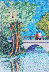 Le pont blanc / Feutres / 50 x 70
