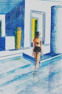 La piscine / Aquarelle et encre / 50 x 70