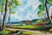 Chemin rural / Aquarelle et encre / 70 x 50