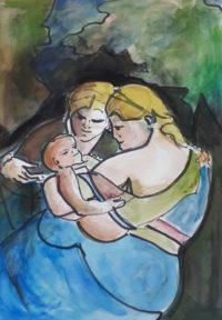 Maternité / Aquarelle et encre / 50 x 70