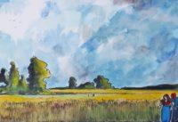 En bordure des blés / Aquarelle et encre / 70 x 50