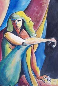 Femme et draperie / Aquarelle et encre / 50 x 70