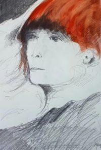 Portrait aux cheveux roux / mines de plomb et aquarelle / 50 x 70