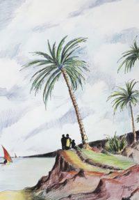 Les palmiers maritimes / Aquarelle et encre / 50 x 70