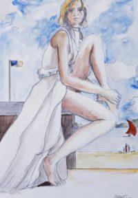 Robe blanche en bord de mer / Aquarelle / 50 x 70