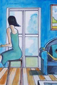 Femme assise 1 / Aquarelle / 50 x 70