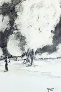 A l'abri des arbres / Mines de plomb / 50 x 70