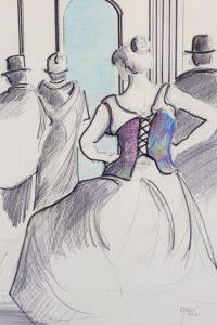 Le corset / Mines de plomb et de couleurs / 50 x 70