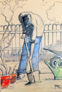 Le jardinier au travail / Mines de plomb et couleurs sur kraft / 50 x 70