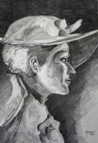 Profil au chapeau / Mines de plomb / 50 x 70