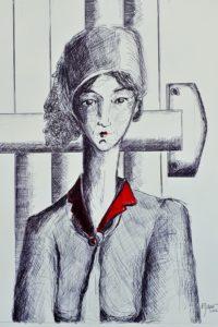 Femme au col rouge / Pointe bille noire et aquarelle / 50 x 70