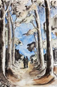 Sentier forestier / Encre et aquarelle / 50 x 70