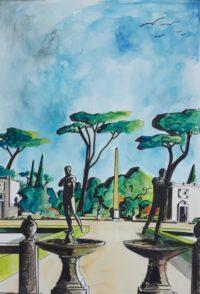 Parc villa italienne / Aquarelle et encre / 50 x 70
