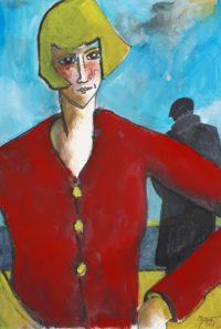 Femme au pull rouge / Acrylique / 50 x 70