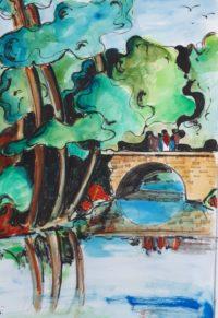Le pont de pierres / Aquarelle et encre / 50 x 70