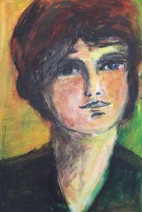 Femme au pull noir / Acrylique et encre / 50 x 70