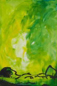 Repos au vert / Acrylique et encre / 50 x 70