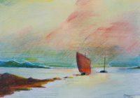 Marine au voilier rouge / Aquarelle / 70 x 50
