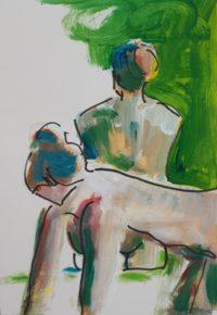 Couple / Acrylique et encre / 50 x 70