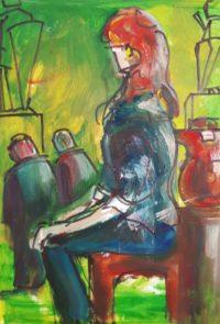 Assise bien droite svp / Acrylique / 50 x 70