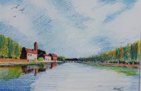 Le calme du fleuve / Aquarelle / 70 x 50