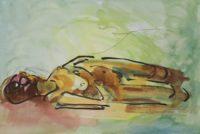 Nu allongé / Aquarelle / 70 x 50