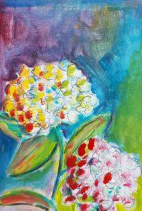 Hortensias / Acrylique / 50 x 70