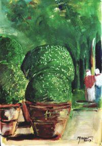 Buis en pot / Acrylique / 50 x 70